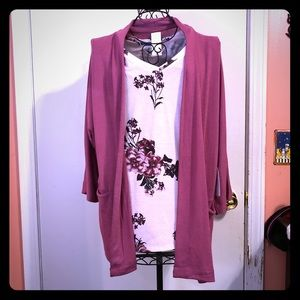 Rose Pink Floral Blouse with Cardigan Size Small